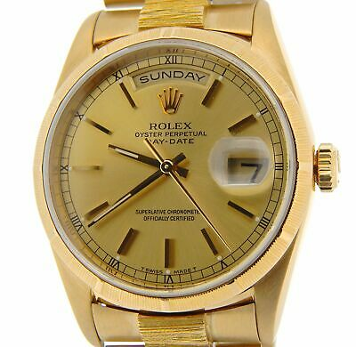 $ CDN19380.67 • Buy Mens Rolex Day-Date President Solid 18K Yellow Gold Watch Bark Champagne