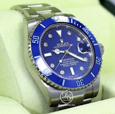 $ CDN15817.47 • Buy Rolex Submariner 116610 Steel Blue Ceramic Bezel Diamond Dial Men's Watch Mint