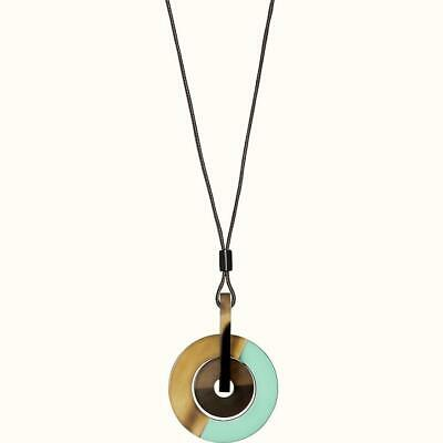 Hermes Brown/Rose/Mint Eclipse Lacquered Buffalo Horn Pendant Necklace $330 • 148.47£