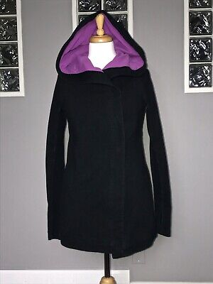 $ CDN98 • Buy Lululemon Awareness Wrap 4 Black Hooded Savasana Gratitude Jacket Ombre Euc
