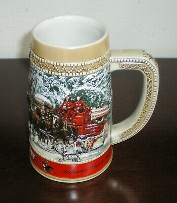 "$ CDN17.54 • Buy 1987 Budweiser World Famous Budweiser ""King Of Beer"" Clydesdales Stein By Cerama"