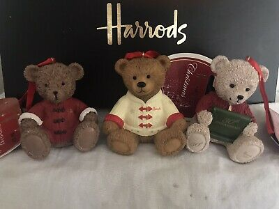 Harrods Bears 2013 & 2015 & 2016 Christmas Resin Bears Footdated New Labelled • 62£
