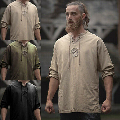 5 Colors Medieval Men Linen Embroidery Shirt Tunic Ancient Viking Top Costume UK • 16.99£