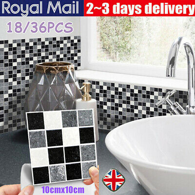 DIY Mosaic Sticker Kitchen Tile Stickers Bathroom Self-adhesive Wall Decor Home • 12.95£