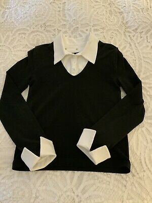 Wolford Black Stretch Jumper Top Detachable Collar Cuffs Size M Uk 12 14 16 • 38£