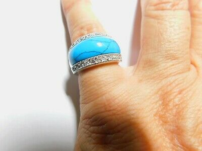 $ CDN36.62 • Buy Signed Lia Sophia Genuine Turquoise Cubic Zirconia Dome Ring Size 7 Vintage