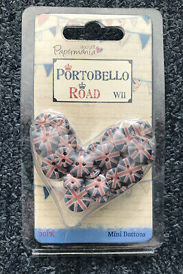 £5 • Buy Docrafts Papermania ~ Portobello Road Union Jack Buttons ~ 30 Pack