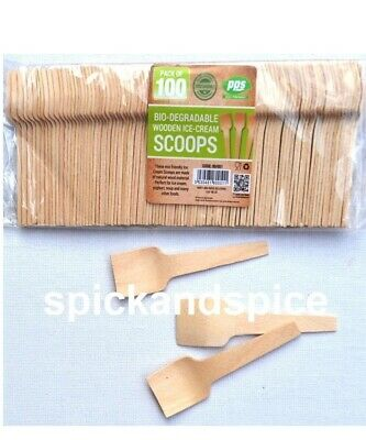 £4.36 • Buy 100 X Biodegradable Tiny Wooden Scoops Spoon For Ice Cream Party Dessert  Spoons