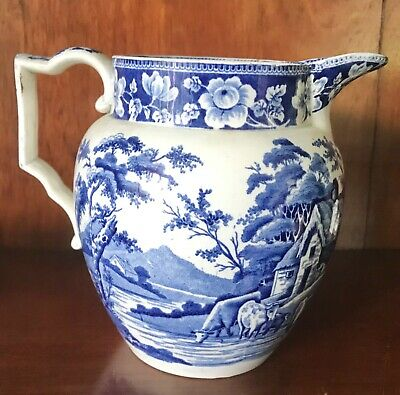 Antique Pearlware Blue Transfer Printed Transferware Jug.c1820 COWS. • 65£