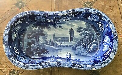 Rare Antique Pearlware Blue Transfer Printed Transferware Bidet ADAMS JEDBURGH  • 265£