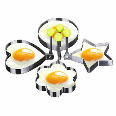 4pcs Stainless Steel Cooking Shaper Mould Frying Mold Fried Egg Pancake Utensils • 3.78£