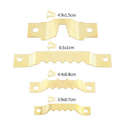 25 Pack Golden Sawtooth Picture Hangers Canvas Frame Hanging Hooks Double Hole • 3.47£