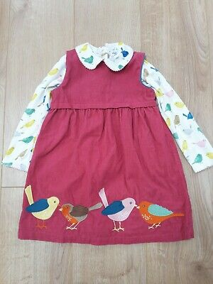 Baby Boden Age 2-3 Christmas Robin Cord Bird Dress & Bodysuit Set Outfit • 25.99£