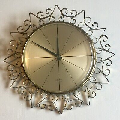 £24.99 • Buy Vintage Westclox Wall Clock With Metal Sun Type Surround. Battery Operated Works