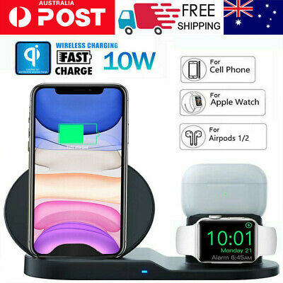 AU30.49 • Buy 3 In 1 Qi Wireless Charger Charging Dock Stand Station For Apple IPhone Watch