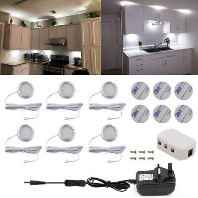 Under Cabinet Lighting Kit LED Kitchen Counter Closet Puck Light Lamp 3/6 Packs • 10.99£