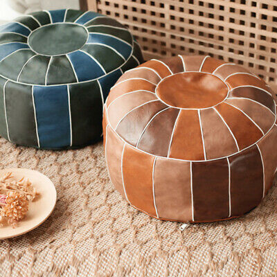 Round Moroccan Leather Footstool Pouffe Pouf Handmade DIY Ottoman Home Storage • 23.99£