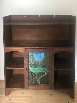 AU300 • Buy Antique Vintage Oak Cabinet With Stained Glass
