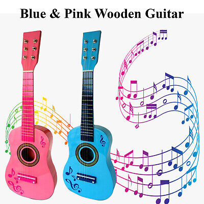 23  Kids Wooden Acoustic Guitar Beginners 6 Strings Practice Children Toys Gifts • 14.99£