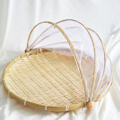 11.8in Hand-Woven Food Serving Tent Basket Outdoor Picnic Food Cover With Gauze • 9.96£