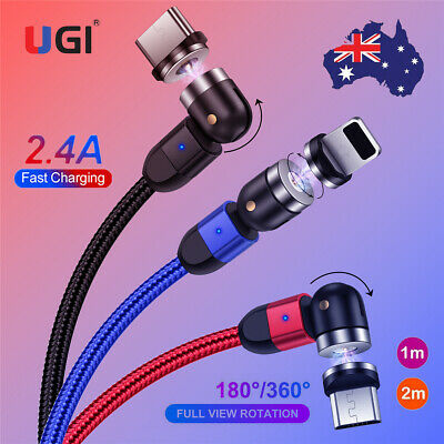 AU16.42 • Buy AU 2.4A Magnetic Charger Cable 360° Rotating Micro USB Type C For IPhone Samsung