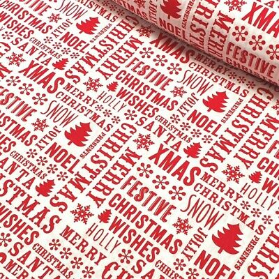 Polycotton Fabric Christmas Wishes Festive Words Xmas Trees Snow Craft Material • 3.95£