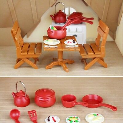 Miniature Dining Table Chairs Cooking Tool Dolls House Toy Set Kitchen  • 6.05£