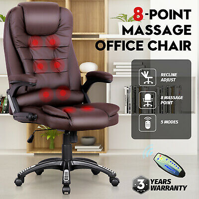 AU137.90 • Buy 8 Point Heated Massage Computer Chair Executive Office Seat Pu Leather Black