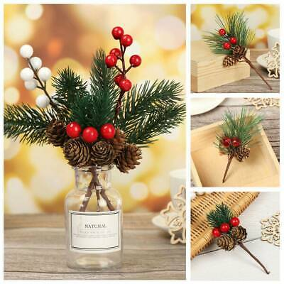 5x Christmas Xmas Artificial Branches Pine Berry Cone Red Fruit Decor Flower YY • 3.48£