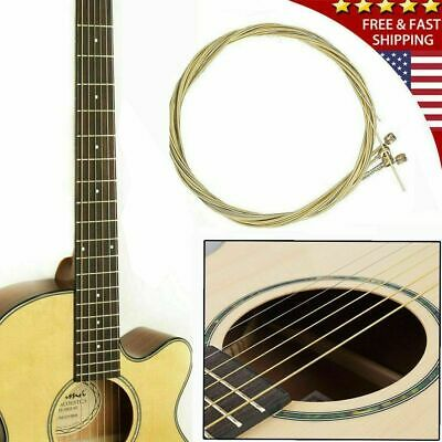 $ CDN6.77 • Buy 6pcs/set Acoustic Guitar Strings 1st-6th String Steel Strings Durable Gold US