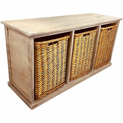 Wooden Storage Bench Seat 3 Large Wicker Baskets Solid Wood Rustic 101cm • 98.99£