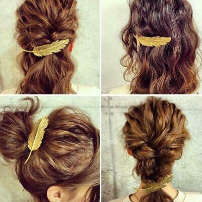 Women Cute Leaf Feather Hair Clip Hairpin Barrette Bobby Pin Accessories H8Y0 • 2.02£
