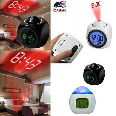 LCD Voice Talking LED Digital Projection Alarm Clock Time Temperature Projector • 7.79£