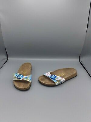 Size UK 5 EU 38 Birkenstock Papillio 'Madrid' Check Tartan Print Slip-On Sandals • 26.99£