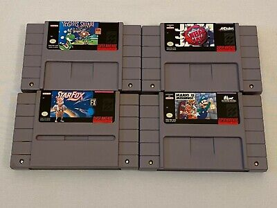 $ CDN52.71 • Buy Authentic Super Nintendo Game Lot 4 Snes Cartridge Star Fox Nba Jam Yoshi Mario