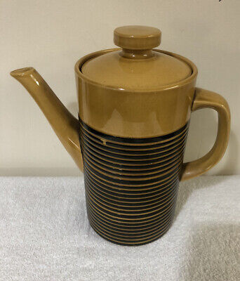 Vintage 1960's T G Green Teapot Channel Isles Sark Honey/Black Banding Kitchen • 18.99£