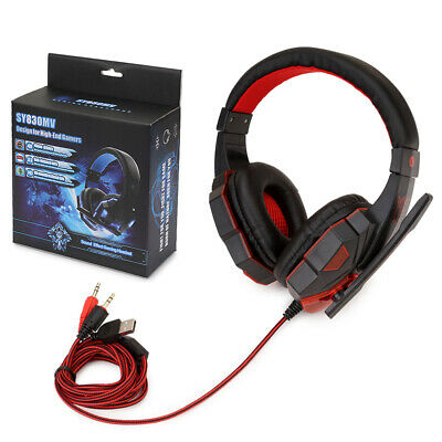 Gaming Headset Stereo LED Headset With Microphone For Phone/Ipad/PC/Laptop UK • 3.95£