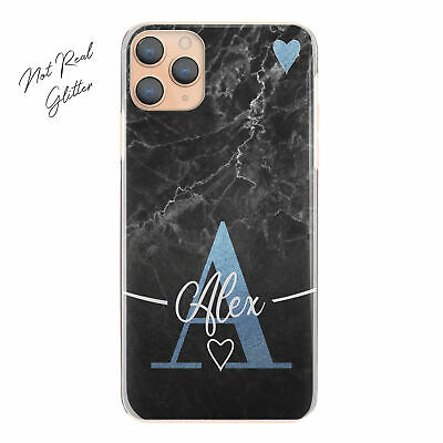 AU12.90 • Buy Personalised Initial Phone Case, Blue Heart On Black Marble Hard Cover With Name