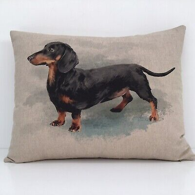 Dachshund Cushion Cover Sausage Dog Picture Print Natural Linen Look Fabric 16  • 11£