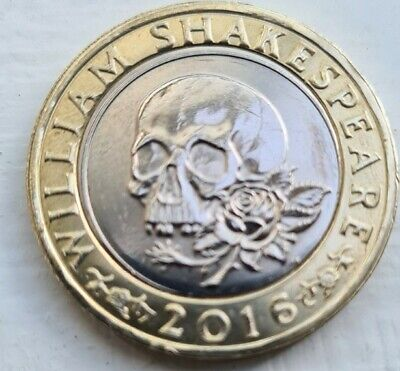 2016 William Shakespeare TRAGEDYS 2 Pound Coin - Skull & Rose.  • 0.99£
