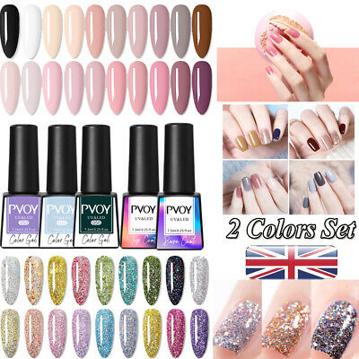 2Pcs Nail UV Gel Polish Glitter Sequins Soak Off UV/LED Gel Varnish Kit PVOY*UK • 4.99£