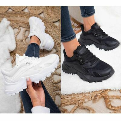 £15.99 • Buy Womens Chunky Sole Trainers Lace Up Sports Party Platform Sneakers Fashion New