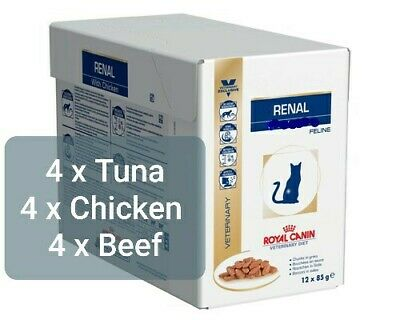 Royal Canin Veterinary Diet Cat Renal Mix 4 X Chicken 4 X Beef 4 X Tuna Pouches • 19.99£