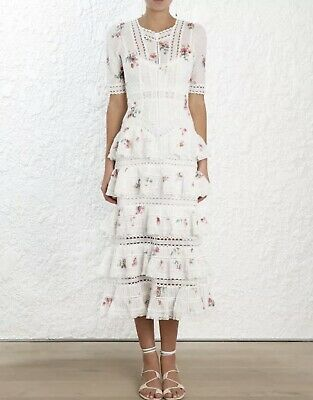 AU460 • Buy RARE!! Zimmermann Heathers Pintuck Tiered Long Dress Size0 BNWT RRP $1250