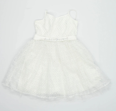 Yumi Girls Floral White Glittery Dress Age 11-12 • 7£
