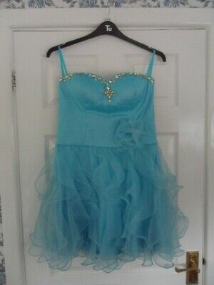 £9.99 • Buy Girls Turquoise Party/dance Dress Size 14/16 Ex. Con