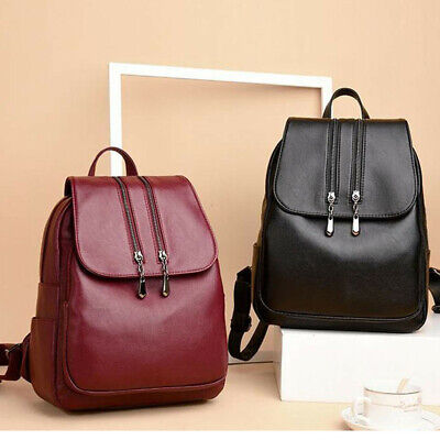 AU33.56 • Buy Women's Leather Backpack Travel Backpack School Bags Teenager Girl Birthday Gift