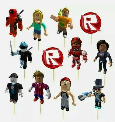 £4.79 • Buy 12 PCS Roblox Birthday CupCake Party Toppers Cake Decorations Flags Picks
