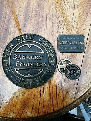 Antique 1920s Ratner Safe Company Bankers Engineers London Plaque & Extras • 10.51£