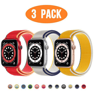 $ CDN11.42 • Buy 3 PACK Nylon Sport Band Strap For Apple Watch Series 6 5 4 3-1 40/44mm IWatch SE